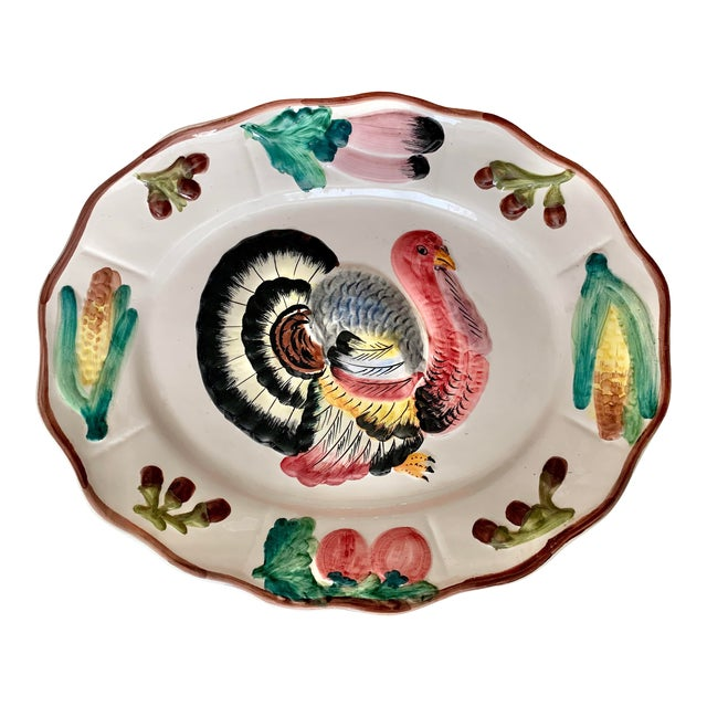 Italian Vintage Hand Painted Turkey Platter For Sale