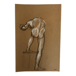 1984 Bending Male Nude Drawing For Sale