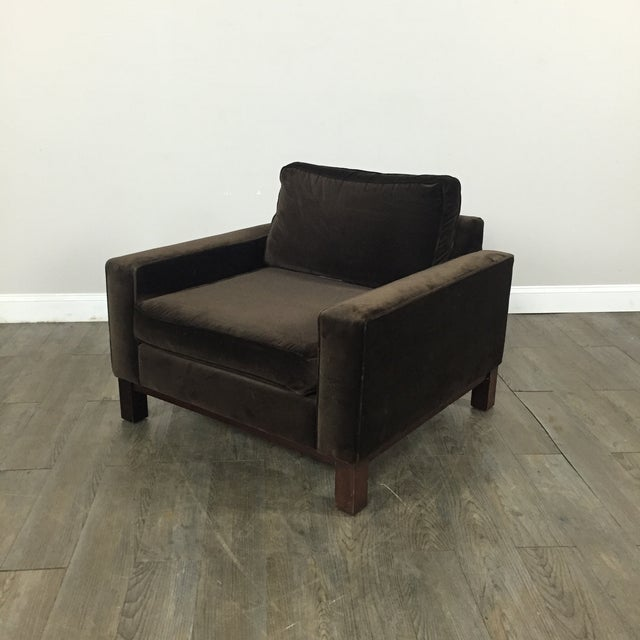 Room & Board Brown Suede Club Chair - Image 2 of 11