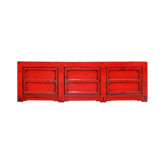 Chinese Distressed Red Lacquer Low Long Tv Console Cabinet For Sale