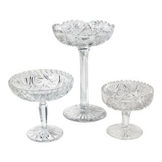 Set of 3 Hand Crafted Crystal Candy Dishes Vintage Pedestal Candle Holders Crystal Bohemian For Sale