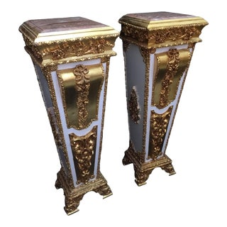 French Louis XVI Style Wooden Pedestal/Colums in Gold and White With Marble Top - a Pair For Sale