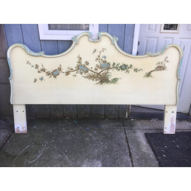 This listing is for a unique hand painted asian style king size headboard. Condition-good vintage condition with signs of...