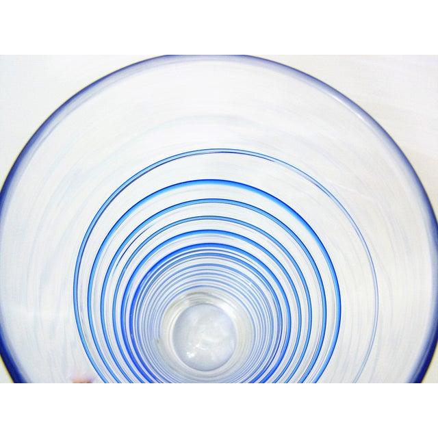 Monumental Transparent & Blue Glass Vintage Blenko Vase Large Mid-Century Modern MCM For Sale - Image 9 of 10