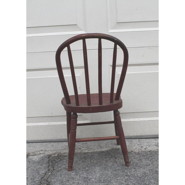 19th Century Original Red Painted Children's Chair For Sale In Los Angeles - Image 6 of 8
