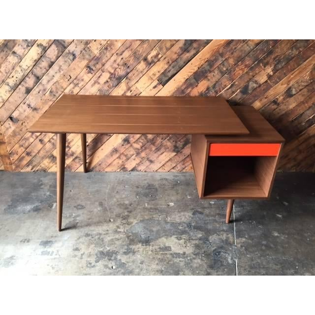 2010s Mid-Century Style Custom Walnut Desk For Sale - Image 5 of 10