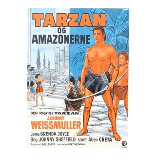 "Danish ""Tarzan of the Amazon"" 1960's Post-War Release Film Poster For Sale"