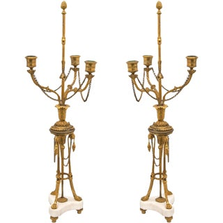 Louis XVI Gilt Bronze Candelabras - A Pair