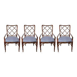 Set of Four Baker Fretwork Chinese Chippendale Faux Bamboo Dining Chairs For Sale