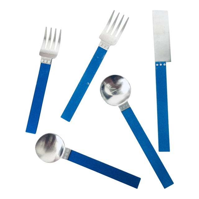 """1980s 5 Piece Metal """"electra"""" Flatware by David Tisdale for Sasaki For Sale"""