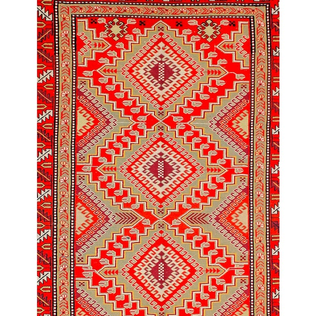 Red & Orange Afghan Sumak Kilim Rug - 5′3″ × 8′3″ For Sale - Image 4 of 6