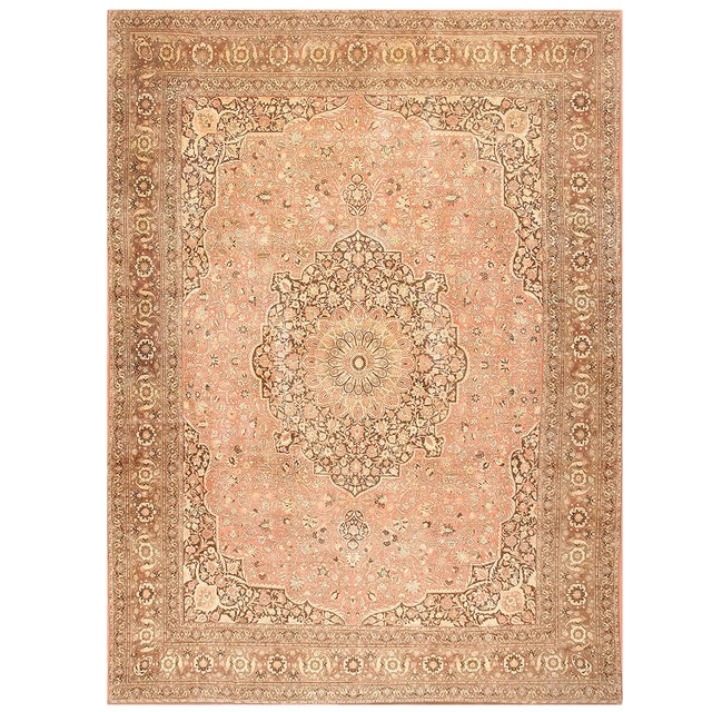 Antique Persian Tabriz Dusty Rose Rug - 13′7″ × 17′ For Sale