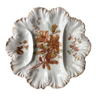 Antique 1900s French Porcelain Asparagus Plate For Sale
