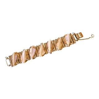 Kafin Ny Carved Mother of Pearl Gilt Metal Link Bracelet For Sale