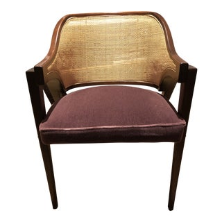 Mid Century Modern Style Walnut and Wicker Chair After Dunbar Ed Wormley For Sale
