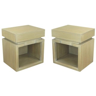 Pair of 1950s Modern Driftwood Finish Mahogany Nightstands For Sale
