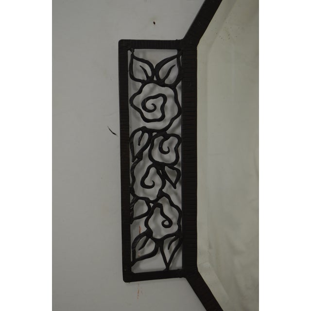 Art Deco Oscar Bach Style Iron Marble Top Wall Console w/ Mirror For Sale - Image 10 of 10