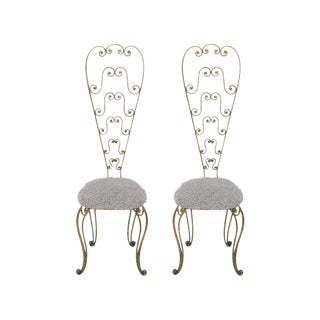 Pair of Gilt Iron Tall Back Chairs by Pier Luigi Colli