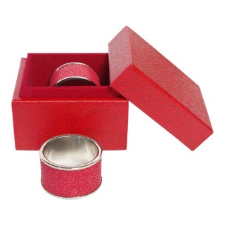 Red Shagreen Napkin Rings by Fabio Ltd - a Pair For Sale