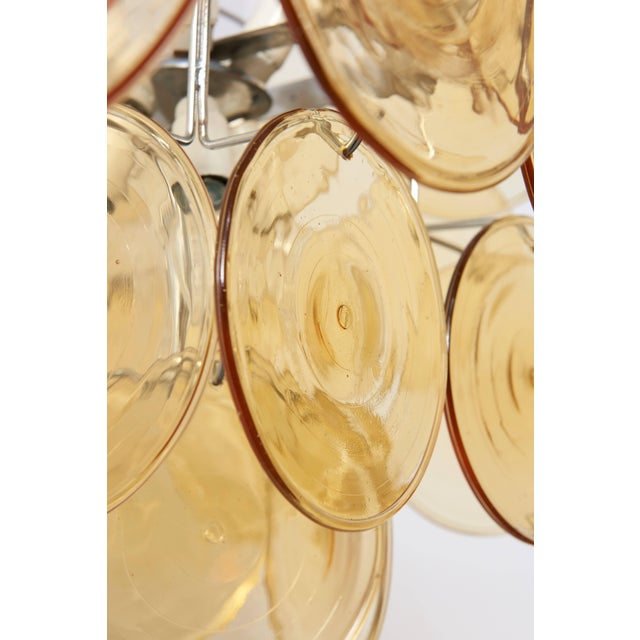 Amber Glass Disc Vistosi Chandelier For Sale - Image 10 of 11