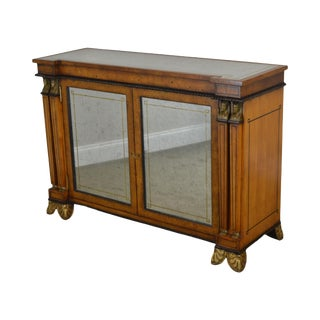 Regency Egyptian Revival Style Burl Wood Eglomise Mirrored 2 Door Console Cabinet For Sale
