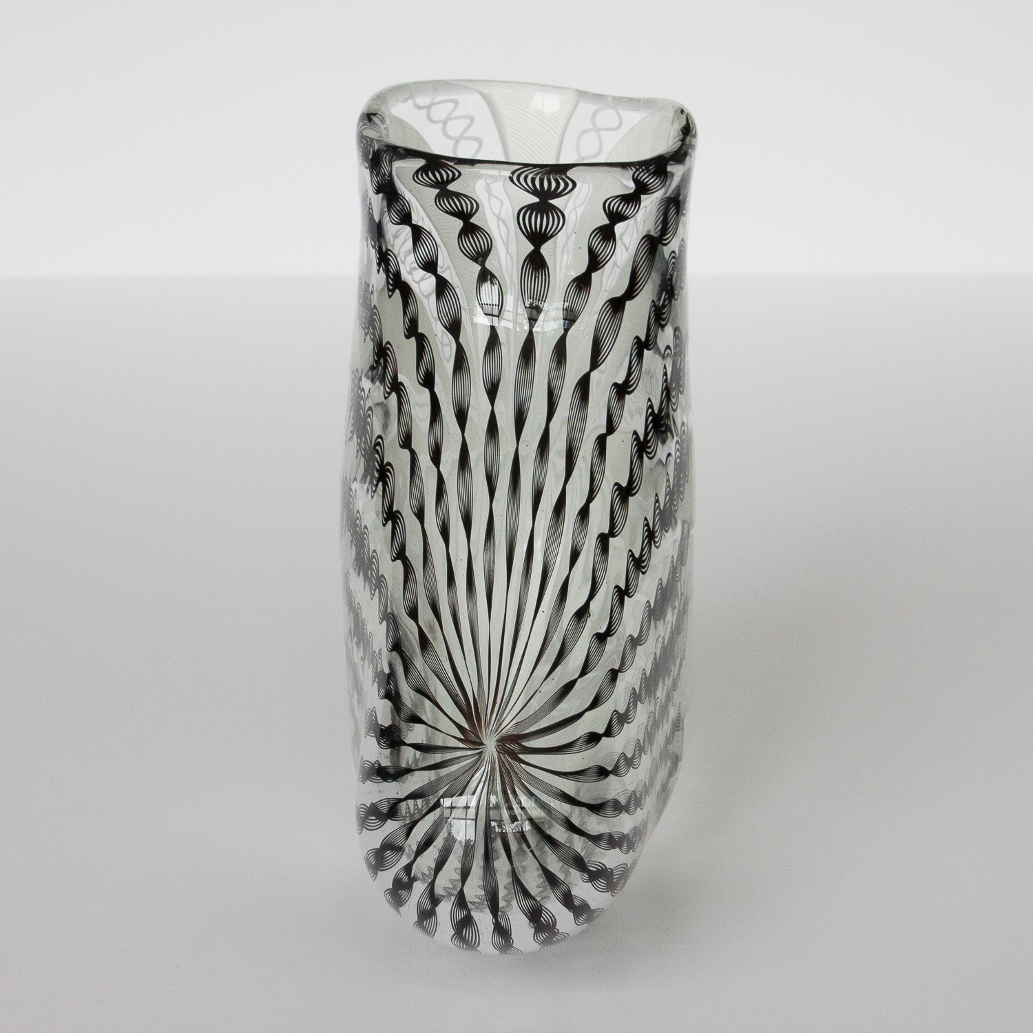 Murano zanfirico black white art glass vase image 5 of 10