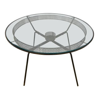 Vintage Mid Century Modern Metal Patio Table For Sale