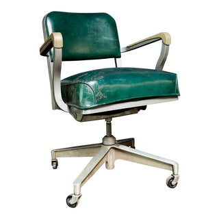 1950s Vintage Beefy Steelcase Banker Rolling Desk Chair For Sale