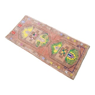 Hand Knotted Door Mat, Entryway Rug, Bath Mat, Kitchen Decor, Small Rug, Turkish Rug - 1′10″ × 3′10″ For Sale
