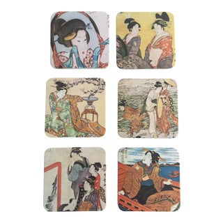 Japanese Geisha Women Coasters - Set of 6 For Sale