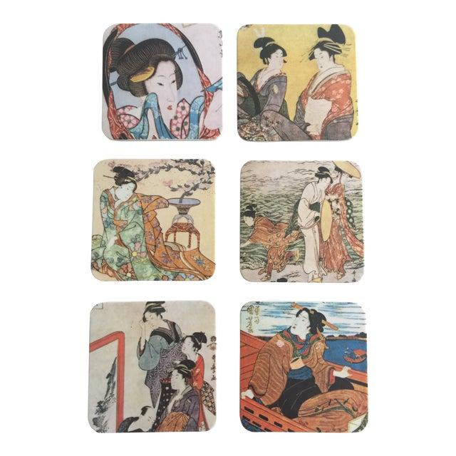 Japanese Geisha Women Coasters - Set of 6 For Sale