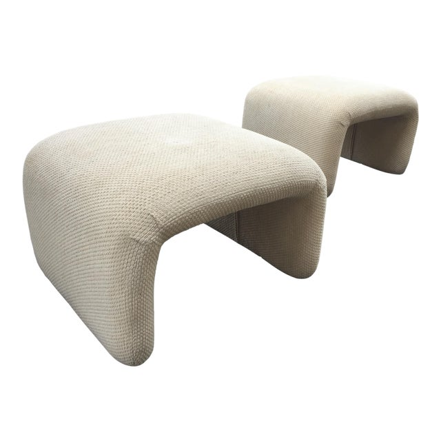 1970s Vintage Karl Springer Style Waterfall Benches- A Pair For Sale