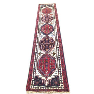 Vintage Persian Hand Knotted Geometric Ardabil Runner Rug Preview