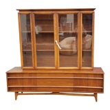 Image of Mid Century Modern Walnut China Cabinet by Young Manufacturing Co. For Sale
