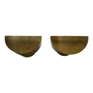 Vintage 1980s Brass Half-Moon Wall Sconces - a Pair For Sale