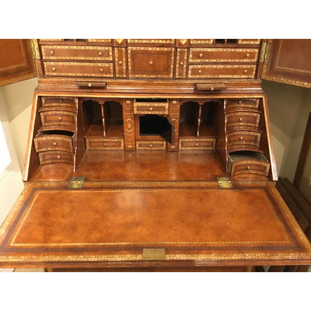 Metal Maitland Smith Traditional Tooled Leather Secretary Desk For Sale - Image 7 of 10