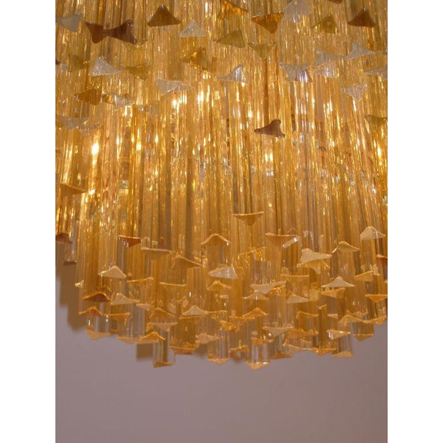 Venini Three-Tiered Amber and Clear Crystal Chandelier For Sale - Image 4 of 5
