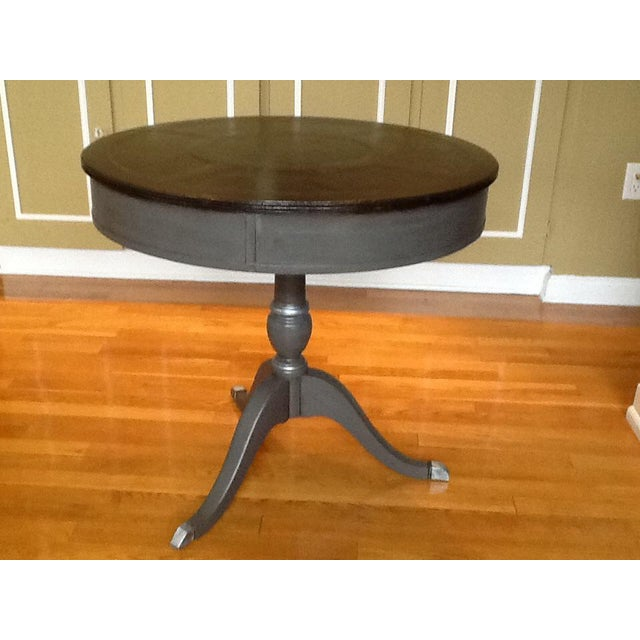 Cottage Upcycled Vintage Drum Table For Sale - Image 3 of 11