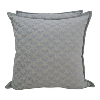 Aqua Blue Pair Linen & Cotton Pillows - a Pair For Sale