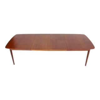 Danish Teak Mid-Century Modern Dining Banquet Table Self Storing Folding Leafs For Sale