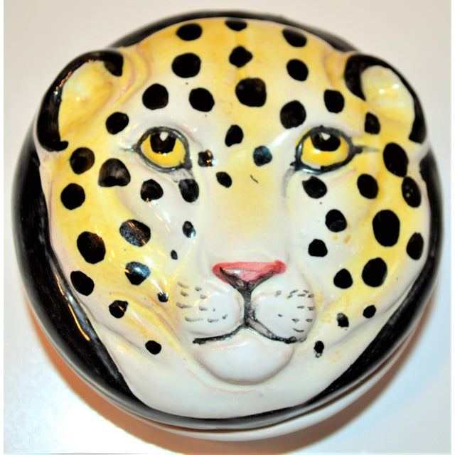 This is a whimsical Italian hand painted Leopard Face Trinket bowl / paper weight. It is lidded and is great for holding...