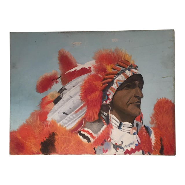 Indian Chief Oil Portrait - Image 1 of 7
