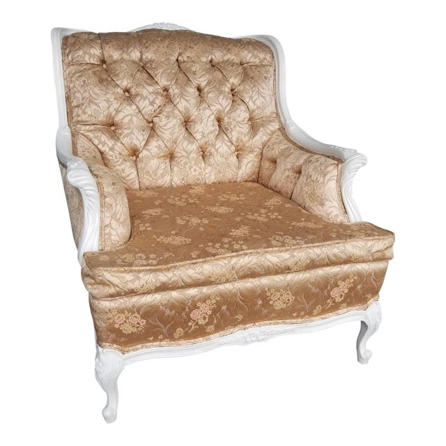 1950s Vintage French Blush Pink Brocade and White Armchair For Sale - Image 4 of 10