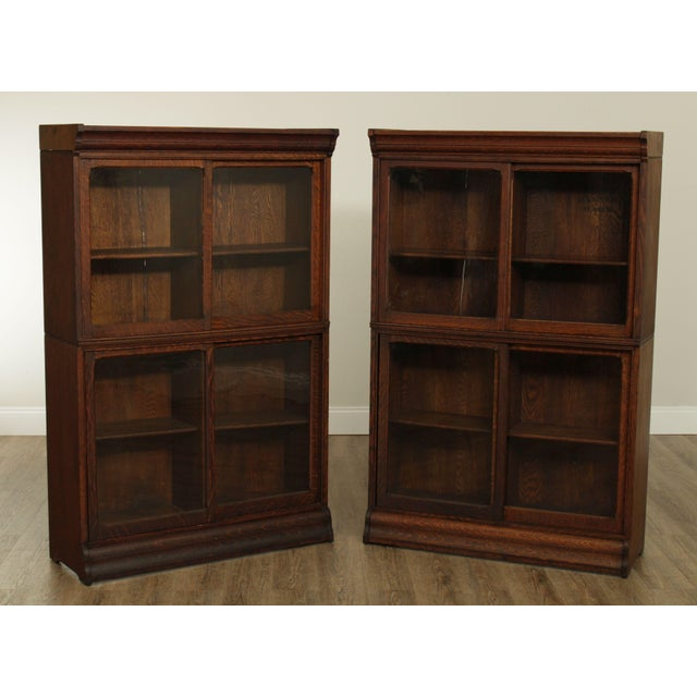 High Quality American Made Early 20th Century Pair of Oak Sliding Door Bookcases With Adjustable Shelves Store Item#: 26194