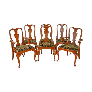 Henkel Harris Solid Cherry Set of 6 Queen Anne Dining Chairs
