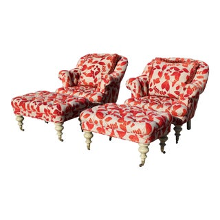 Contemporary Cream With Red Leaf Upholstery Club Chairs With Ottomans - a Pair For Sale