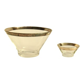 Dorothy Thorpe Style Mid Century Modern Silver Rim Serving Bowls - Set of 2 For Sale