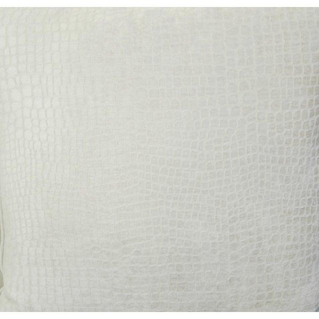 Abstract Modern Boho Chic White Crocodile Textured Velvet Pillow For Sale - Image 3 of 5