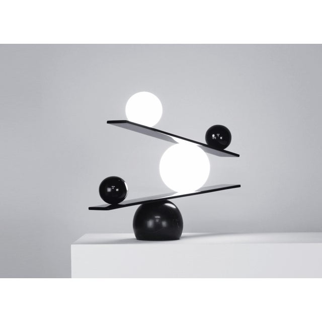 Metal Balance Brass Table Lamp by Victor Castanera For Sale - Image 7 of 9