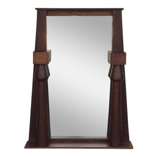 1920s Large Egyptian Revival Arts & Crafts Stained Oak Mirror For Sale